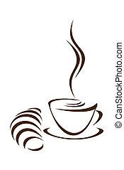 コーヒー, croissant.