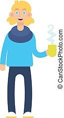 コーヒー, cup., イラスト, ベクトル, 人, hipster.