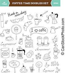 コーヒー, doodles, ベクトル, 要素