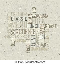 コーヒー, eps10, themed, ポスター, ベクトル, デザイン, template.
