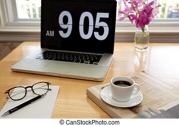 コーヒー, flower., カップ, 木製である, ラップトップ, ペンコンピュータ, 机, ガラス