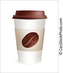 コーヒー, go., カップ, イラスト, プラスチック, 現実的, 豆, ベクトル