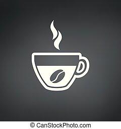 コーヒー, illustration., カップ, 豆, ベクトル, アイコン