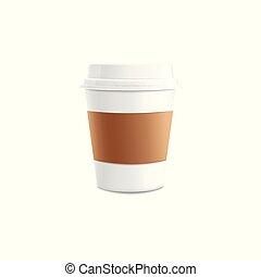 コーヒー, illustration., カップ, mockup, 隔離された, 現実的, ベクトル, 3d
