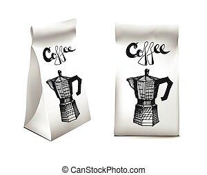 コーヒー, illustration., product., set., 隔離された, object., 包装, ベクトル, デザイン, テンプレート, 白, 飲料