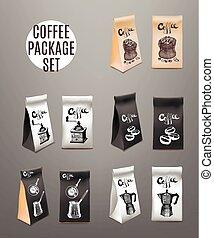 コーヒー, illustration., product., set., 隔離された, object., 包装, ベクトル, デザイン, テンプレート, 飲料
