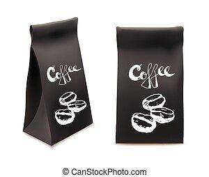 コーヒー, illustration., product., set., 隔離された, object., 包装, ベクトル, デザイン, テンプレート, 黒, 飲料