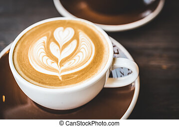コーヒー, latte, カップ