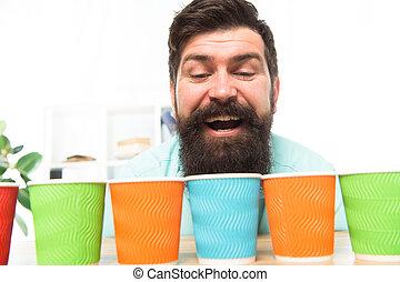 コーヒー, one., 1(人・つ), ペーパー, 選択, 行きなさい, 選択肢, カップ, recycling., alternatives., cup., concept., につき, day., いかに, 選びなさい, たくさん, あごひげを生やしている, 多様性, カラフルである, eco, 人, 多数, 一突き