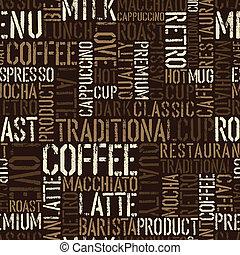 コーヒー, pattern., seamless, 経験, ベクトル, eps8.