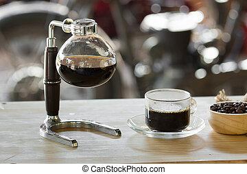 コーヒー, shop., の上, サイフォン, 真空, 終わり, メーカー