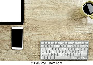 コーヒー, smartphones, タブレット, カップ, 木製である, テキスト, スクリーン, 余白, デスクトップの pc, コンピュータキーボード, 構成, コピー, あなたの