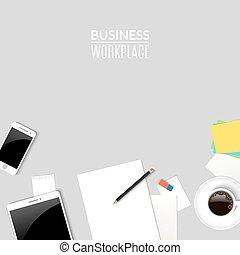 コーヒー, work., ビジネス, 上, 仕事, 電話, ペーパー, 場所, タブレット, 机, 文書, cup., オフィス, 光景