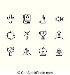 ゴブレット, セット, 王冠, シンボル, 死, 教会, 宗教, 線, rgbsimple, ∥含んでいる∥, 宗教, grail, ろうそく, 基本, 神聖な 本, とげ, 交差点, 祈とう, そのような物, 寺院, アイコン, angel., 聖書, icon., 墓