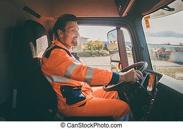 ゴミ捨て場, ごみ, 労働者, トラックを運転すること, 撤去