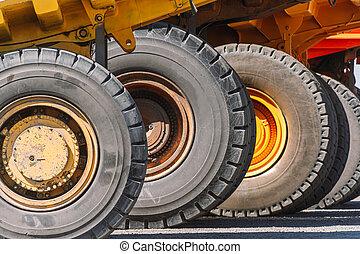 ゴミ捨て場, 大きい, 採石場, 鉱山, 車輪, トラック, 装置