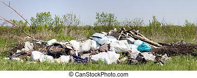 ゴミ捨て場, pollution., パノラマ, 世界的である, 環境, ごみ, field., 問題, 人間性, poverty.