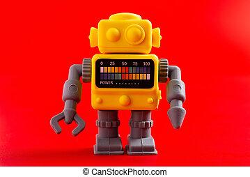 ゴム, おもちゃの ロボット, 背景, 赤