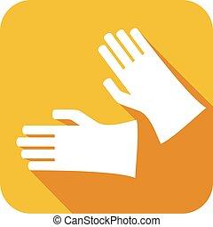 ゴム, 平ら, 保護の手袋, アイコン