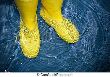 ゴム, 水, ブーツ