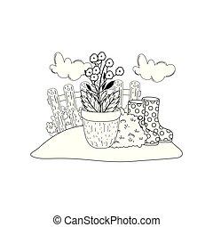 ゴム, 花, 庭, ブーツ, 庭師