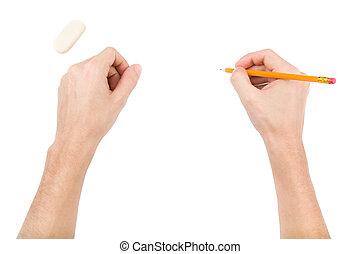 ゴム, 鉛筆, 手