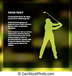 ゴルファー, ゴルフ, フライヤ, シルエット, テンプレート