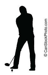 ゴルファー, シルエット, -, 準備, ゴルフ, スポーツ, tee-shot