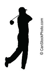 ゴルファー, シルエット, -, 終えられた, ゴルフ, スポーツ, tee-shot