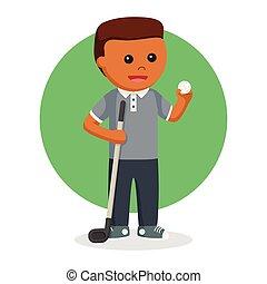 ゴルファー, ボール, ゴルフ, スティック男