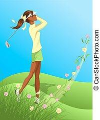 ゴルファー, 女, 花, 振動, から