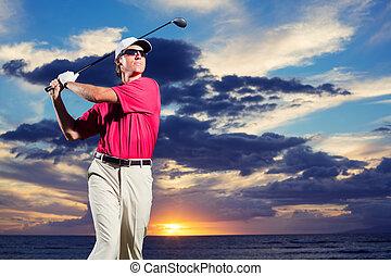 ゴルファー, 日没