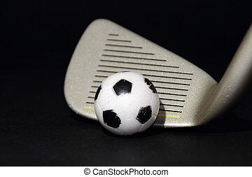 ゴルフクラブ, フットボール, 金属, 隔離された, 黒い背景, 小さい