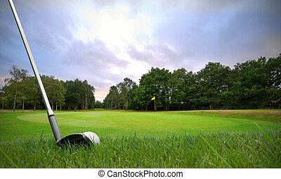 ゴルフボール, に, 緑, 欠ける