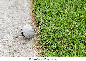 ゴルフボール, 上に, ∥, カート, 道