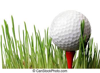 ゴルフボール, 中に, 草