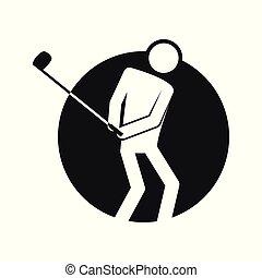 ゴルフ, アウトライン, 数字, シンボル, イラスト, ベクトル, 円, スポーツ, ブロック