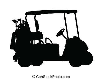 ゴルフ, シルエット, カート