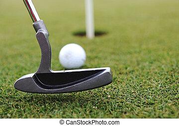 ゴルフ, スティック, そして, ボール, 上に, ∥, 緑の草