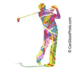 ゴルフ, スポーツ, シルエット