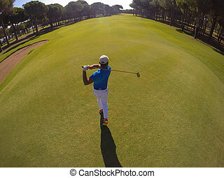 ゴルフ, 上, ヒッティング, プレーヤー, 打撃, 光景