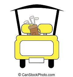 ゴルフ, 黄色, カート