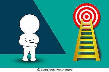 ゴール, はしご, 高く, パペット, 狙いを定める, ターゲット