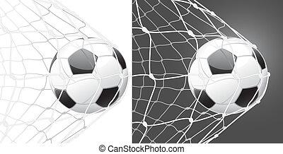 ゴール, サッカー, スコア, ボール