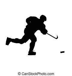 ゴール, パック, 隔離された, 氷, silhouette., プレーヤー, ベクトル, ホッケー, 撃つ, 射撃