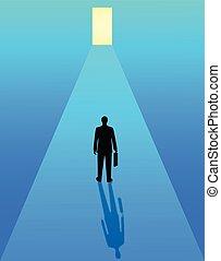 ゴール, ビジネス, ビジネスマン, ultimate, success., 開いた, 進歩, ドア, 組織, 競争