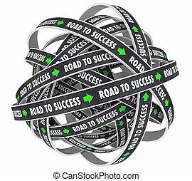 ゴール, 成功, イラスト, 成功しなさい, 目的を達しなさい, 道, 3d