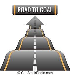 ゴール, 成功, 抽象的, 機会, 道, 方法, 新しい, 達成