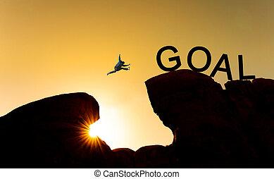 ゴール, 概念, シルエット, 成功, ビジネス, goal., 上に, 絶壁, 跳躍, ゴール, 挑戦, 目的を達しなさい, 人
