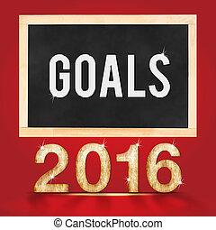 ゴール, 黒板, スタジオ, 背景, 年, 2016, 赤, 部屋